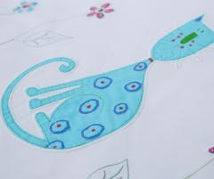 Set lenjerie de pat pentru copii, model Pisică Albastră - LNJ-81