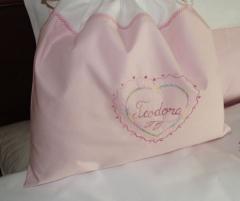 Set lenjerie de pat cu pilota pentru copii, personalizata, bumbac 100%, culoare roz, 130x150 cm - LNJ-35