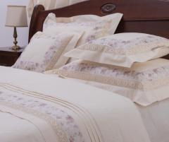 Lenjerie de pat din bumbac 100%, culoare crem, model floral, 240x240 cm - LNJ-67