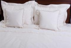 Lenjerie de pat, 6 piese, bumbac 100%, culoare natur cu dantela, 240x240 cm