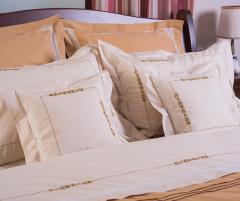 Set lenjerie de pat, 6 piese, bumbac 100%, culoare bej cu ocru, 240x240 cm - LNJ-24