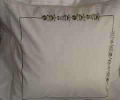 Lenjerie de pat din bumbac 100%, culoare alb-verde, cu broderie si dantela - LNJ-43