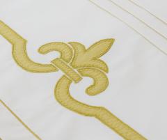 Lenjerie de pat din bumbac 100%, culoare alb-verde, cu medalion - LNJ-78