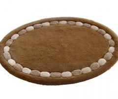 Covor de lana pentru baie, oval, culoare maro, model decorativ - 129