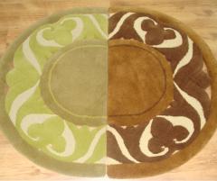 Covor de lana pentru baie, culoare verde, în formă de semicerc - 128