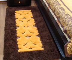 Covor de lana pentru dormitor, culoare maro, cu broderie - 71