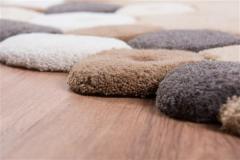 Covor de lana oval, culoare bej, model cu pietre - 14