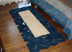 Covor de lana pentru dormitor, culoare albastru-bej, model dantelat - 84