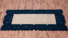 Traversă lana, culoare albastru-bej, model dantelat, 275x120 cm - 137