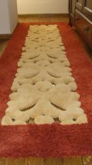 Traversă hol/dormitor din lana, culoare alb-grena, cu broderie - 57