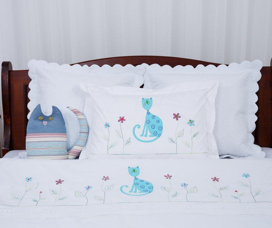 set_lenjerie_de_pat_pentru_copii_model_pisica