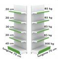Raft metalic de perete 70*200 baza 40 cm si 3 polite de 30 cm