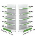 Raft metalic de perete 100*230 baza 50 cm si 4 polite de 40 cm