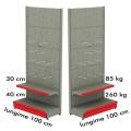 Raft metalic de perete cu carlige 100*200 baza 40 cm si 1 polita