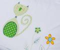 Set lenjerie de pat pentru copii, model Pisică Verde - LNJ-82
