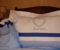 Lenjerie de pat pentru copii cu pled de vara, personalizata, bumbac 100%, culoare bleu, 130x150 cm - LNJ-34