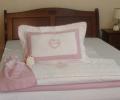 Set lenjerie de pat cu pilota pentru fete, personalizata, bumbac 100%, culoare roz, 130x150 cm - LNJ-37