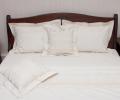 Lenjerie de pat de culoare natur, din bumbac 100%, model gotic si floral, 240x240 cm - LNJ-27