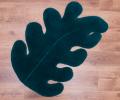 Covor de lana pentru baie, culoare verde, în formă de frunză, 60x90cm