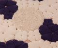 Covor de lana pentru camera copiilor rotund, culoare crem, model cu flori, 150x150 cm - 135