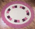 Covor de lana pentru camera copiilor rotund, model cu flori, culoare roz - 15